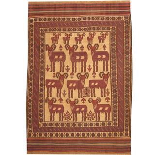 Herat Oriental Afghan Hand-woven Tribal Soumak Kilim Beige/ Burgundy Wool Rug (6'6 x 9'2)