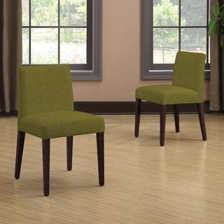 Portfolio Amity Apple Green Linen Armless Dining Chair Set (Set of 2)