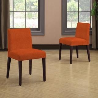 Portfolio Amity Orange Linen Armless Dining Chair Set (Set of 2)