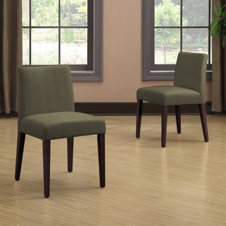 Portfolio Amity Basil Grey Linen Armless Dining Chair Set (Set of 2)
