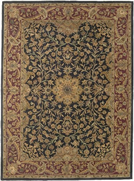 Hand-tufted Regal Black/ Burgundy Wool Rug (8' x 11')