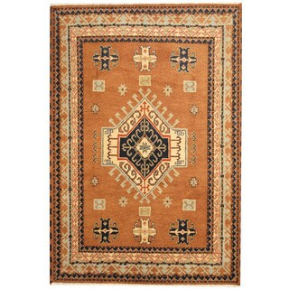 Herat Oriental Indo Hand-knotted Kazak Tribal Brown/ Turquoise Wool Rug (6'9 x 9'10)