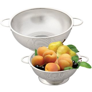 2-piece Stainless Steel Micro Perforated 3-quart/ 5-quart Colander Set with Handle and Solid Base