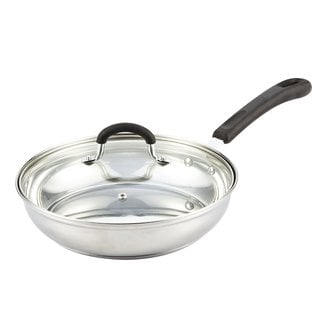 Cook N Home Silver Stainless Steel 10-inch Medium Saute Pan with Lid