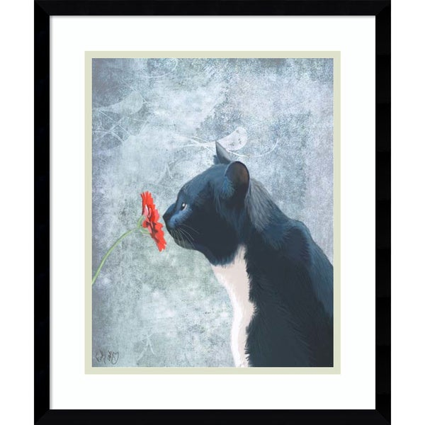 Fab Funky 'Black Cat Sniffing Flower' Framed Art Print 16 x 19-inch