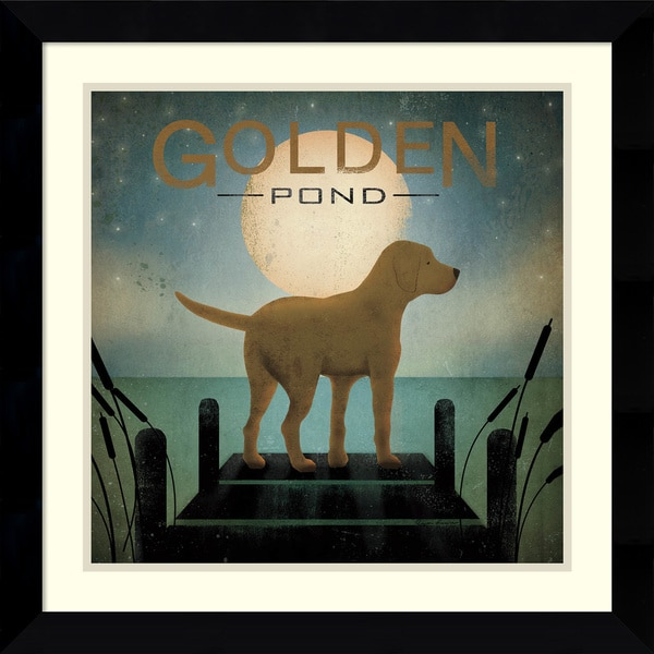 Ryan Fowler 'Moonrise Yellow Dog - Golden Pond' Framed Art Print 25 x 25-inch
