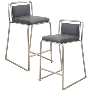 Pair of Cascade Contemporary Stainless Steel 24 Counter Stools
