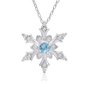 1/2ct Swiss Blue and White Topaz Snowflake Pendant in Sterling Silver