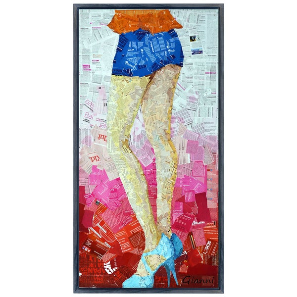 Short Shorts B' Original Handmade Paper Collage Signed by Gianni Framed Graphic Art