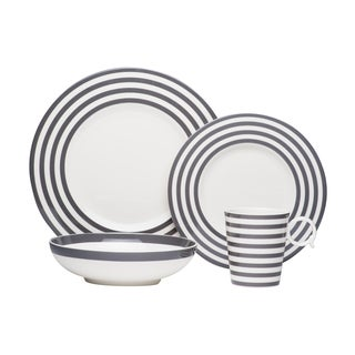 Red Vanilla Freshness Lines Grey 4Pc Place Setting