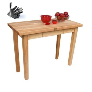 John Boos C06C Country Maple 48x30x35 Work Table with Drawer / Casters and Bonus Henckels 13-piece Knife Block Set