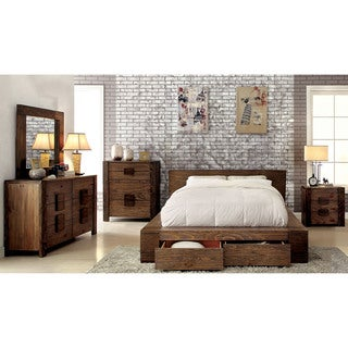 Furniture of America Shaylen II Rustic 4-piece Natural Tone Low Profile Storage Bedroom Set