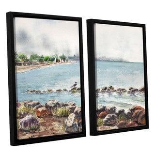 ArtWall Irina Sztukowsi's Hazy Morning Crab Cove 2-piece Floater Framed Canvas Set