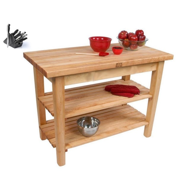 John Boos C07C-2S Country Maple 60x30 Work Table with / 2 Shelves / Casters and Bonus Henckels 13-piece Knife Block Set