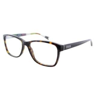 Coach Julayne Dark Tortoise on Colored Stripe Plastic 52mm Eyeglasses