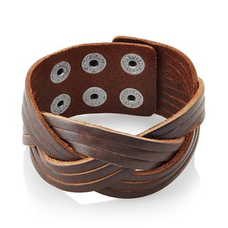 Men's Distressed Leather Weaved Cuff Bracelet - 7.75 inches (35mm Wide)
