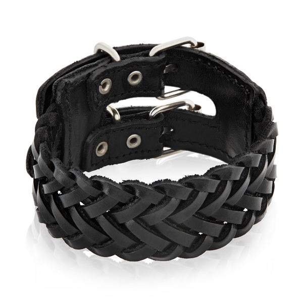 Men's Leather Weaved Buckle Cuff Bracelet - 9.5 inches (30mm Wide)