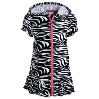 Pink Platinum Girls Warm Short Sleeve Terry Coverup Swim Robe with Hood