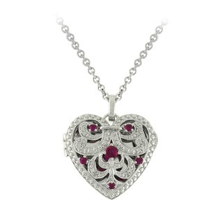 Sonia Bitton Sterling Silver Ruby and Diamond Accent Necklace (I-J, SI1-SI2)