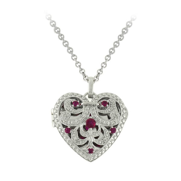 Sterling Silver Ruby and Diamond Accent Necklace (I-J, SI1-SI2)