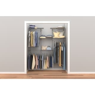 ClosetMaid ShelfTrack 4ft to 6ft Closet Organizer Kit, Satin Chrome