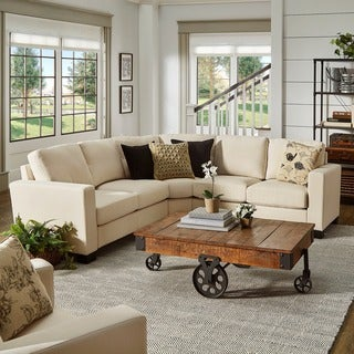 INSPIRE Q Torrington Linen Nailhead Track Arm Rounded L-Shaped Configurable Sectional