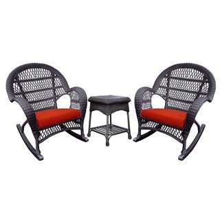 Santa Maria Espresso Rocker Wicker Chair And End Table Set with Cushions