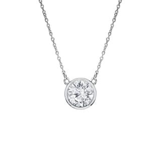 Auriya 14k Gold 1/4ct TDW Round Cut Diamond Solitaire Bezel Necklace (H-I, VS1-VS2)