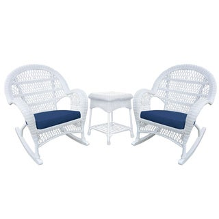Santa Maria White Rocker Wicker Chair And End Table Set with Cushions