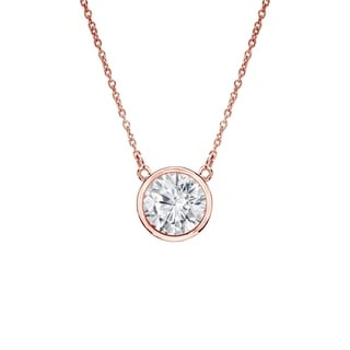 Auriya 14k Gold 1/3ct TDW Round Cut Diamond Solitaire Bezel Necklace (H-I, VS1-VS2)