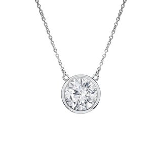 Auriya 14k Gold 1/2ct TDW Round Cut Diamond Solitaire Bezel Necklace (H-I, VS1-VS2)
