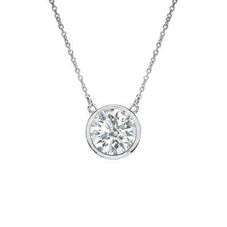 Auriya 14k Gold 1/2ct TDW Round Cut Diamond Solitaire Bezel Necklace (I-J, SI1-SI2)