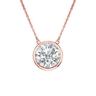 Auriya 14k Gold 1ct TDW Round Cut Diamond Solitaire Bezel Necklace (I-J, SI2-SI3)