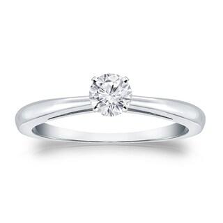 Auriya 18k Gold 1/4ct TDW Round Diamond Solitaire Engagement Ring (H-I, VS1-VS2)