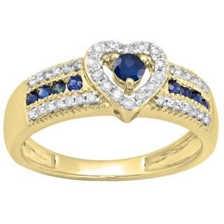 10K Gold 1/2 ct. Round Cut Blue Sapphire & White Diamond Bridal Heart Shaped Promise Engagement Ring (H-I & Blue, I1-I2)