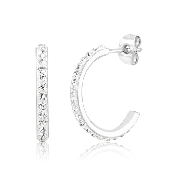 Rhodium-Plated Crystal Half Hoop Earrings