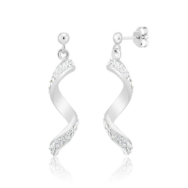 Rhodium-Plated Crystal Twisted Bar Dangling Earrings