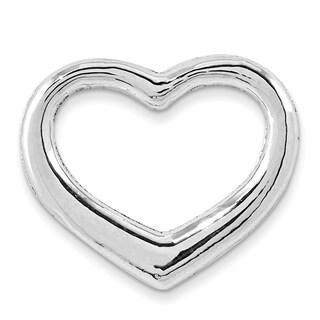 14k White Gold Solid Polished Floating Heart Slide