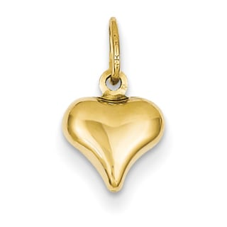 14k Yellow Gold Mini Puffed Heart Charm
