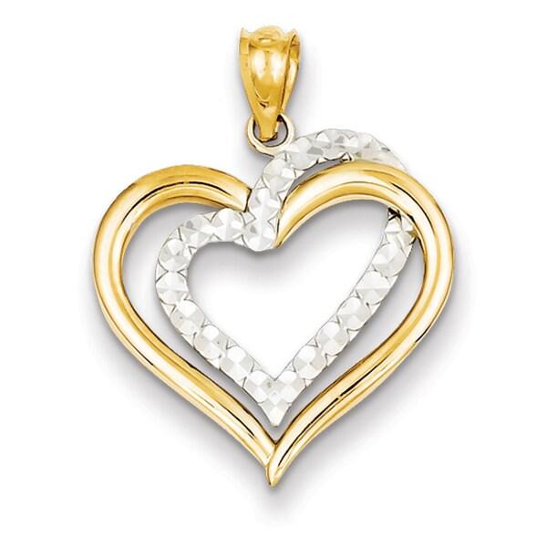 14k Two-tone Gold Diamond Cut Heart Pendant