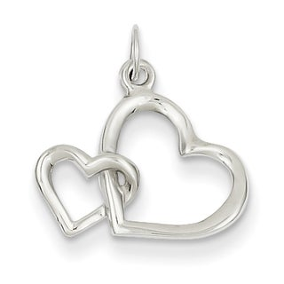 14k White Gold Double Heart Charm