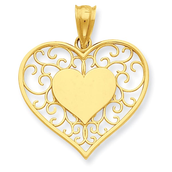 14k Yellow Gold Heart in Heart Polished and Filigree Pendant