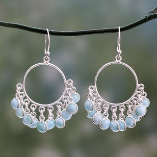 Handcrafted Sterling Silver 'Playful Petals' Larimar Earrings (India)