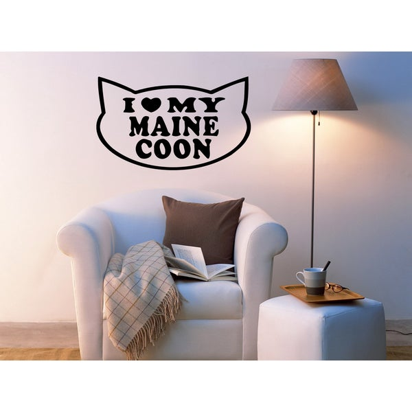 I love Maine Coon Cat Wall Art Sticker Decal