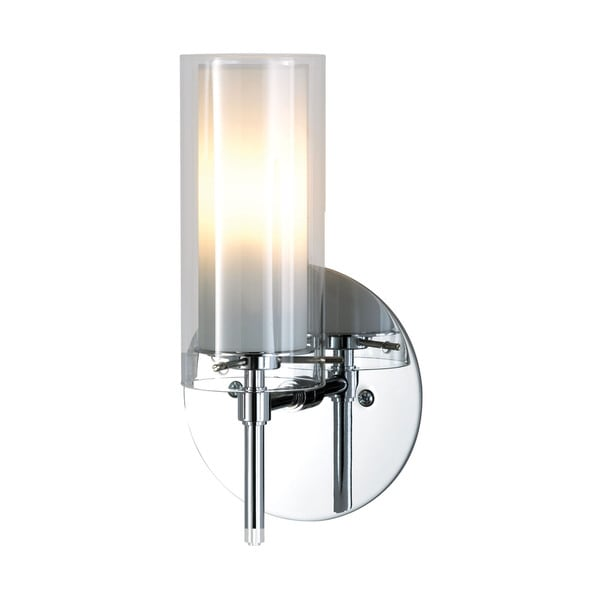 Alico Tubolaire Chrome with Clear Outer Glass and Frosted Terroir Glass 1-light Sconce