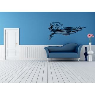 Elegant Swimming Pool Girl Wall Art Sticker Decal