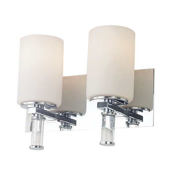 Alico Crystal Chrome and White Opal Glass with Crystal Arm Detail 2-light Vanity