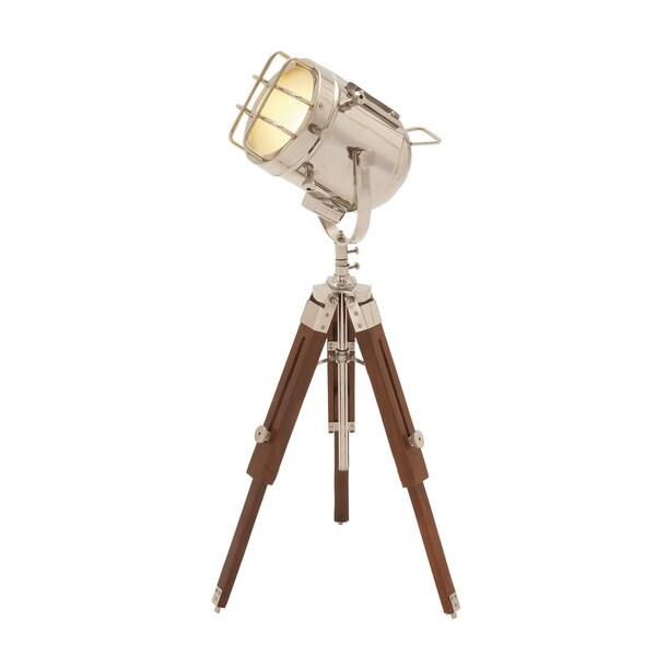 """Brass Wood Spot Light 27""""H"""