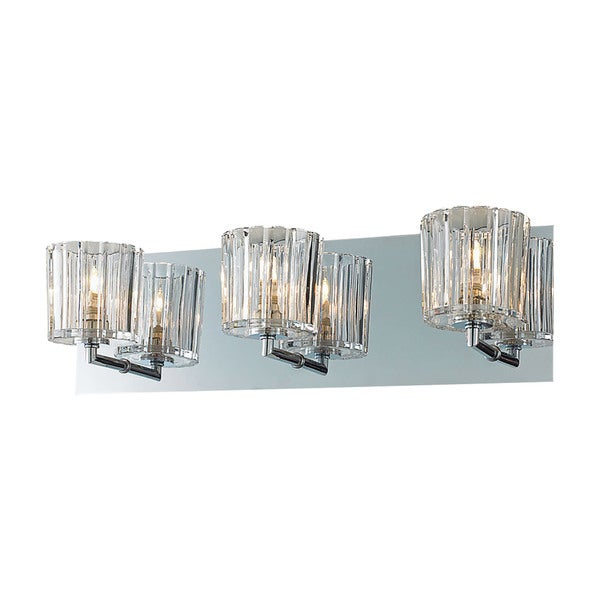 Alico Sprocket Chrome and Clear Sprocket Cut Glass 3-light Vanity