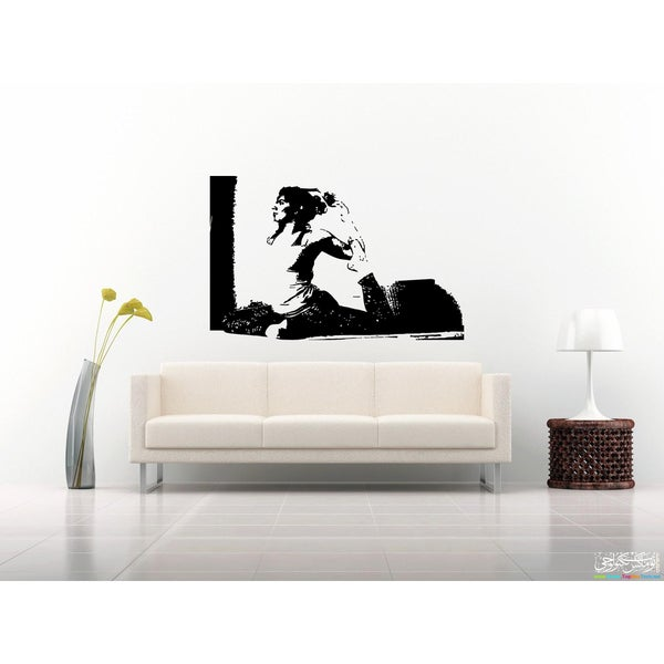 Meditate Girl Picture Wall Art Sticker Decal